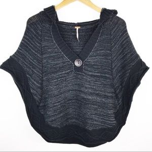Free People hooded poncho sweater M/L
